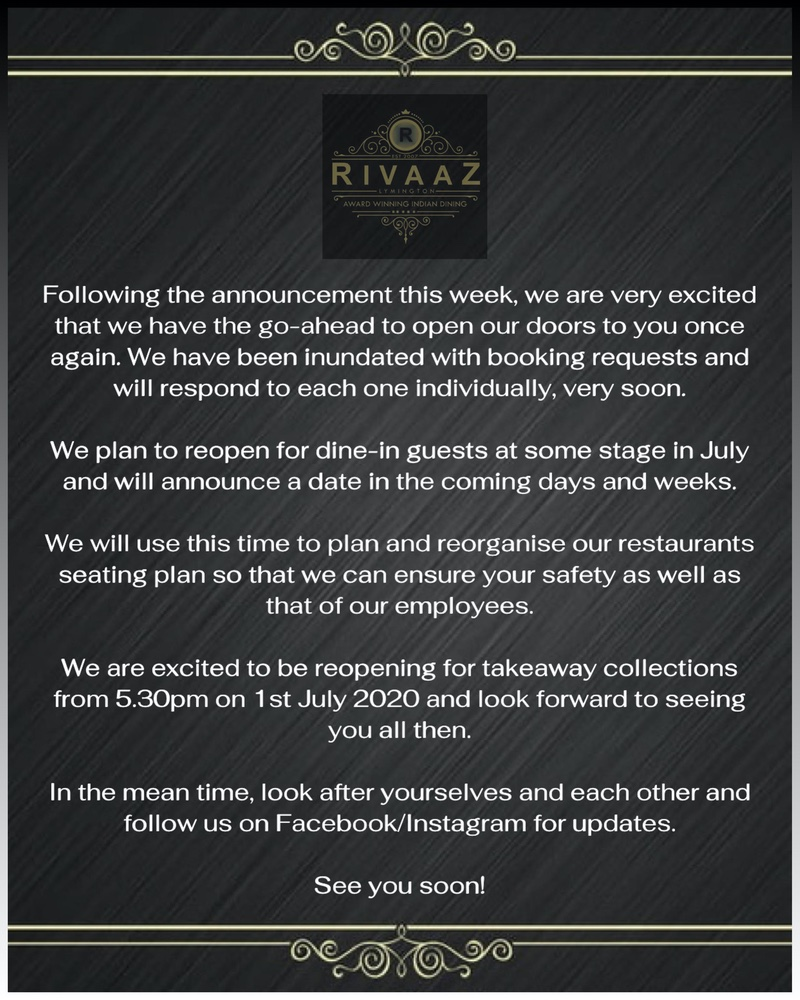 Following the announcement this week, we are very excited that we have the go-ahead to open our doors to you once again. We have been inundated with booking requests and will respond to each one individually, very soon. We plan to reopen for dine-in guests at some stage in July and will announce a date in the coming days and weeks.