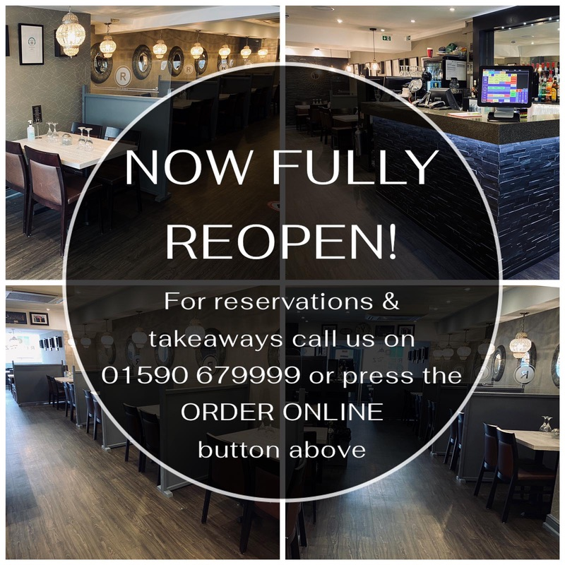 Now Fully Reopen! For reservations & takeaways call us on 01590 679999 or press the ORDER ONLINE button above