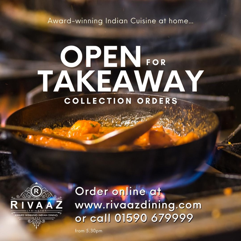 Award-winning Indian Cuisine at home. Open for Takeaway Collection Orders. Order online or call 01590 679999